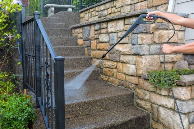 cleaning concrete steps