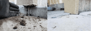 before and after picture of a concrete repair