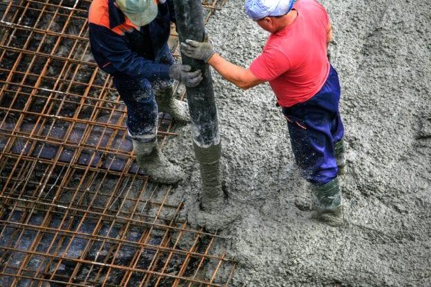 concrete foundation building pouring